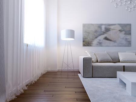 white sofa: Bright living room interior. 3d render Stock Photo