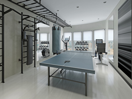 center table: Fitness center minimalism style. 3d render