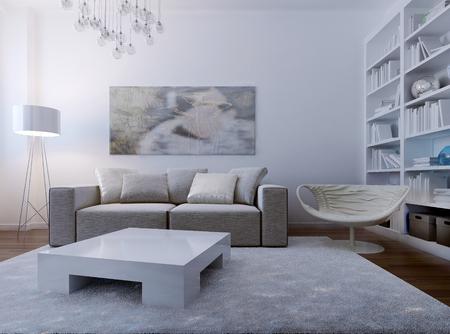 room decor: Cozy living room high-tech style. 3d render