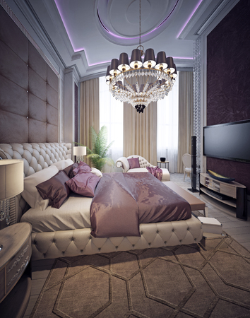 Luxury bedroom neoclassicism style. 3d render