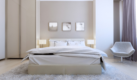 nightstands: High-tech bedroom interior. 3d render