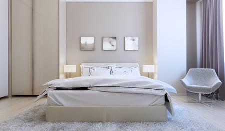 nightstands: High-tech bedroom interior. 3d render