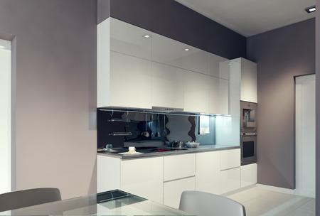 white interior: Avant-garde kitchen design. 3d render