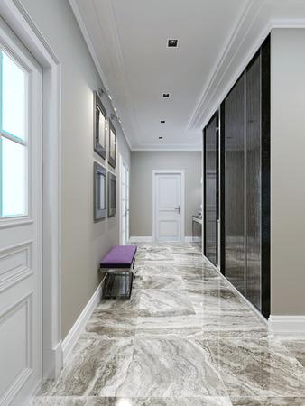marble: Modern corridor design. 3d render