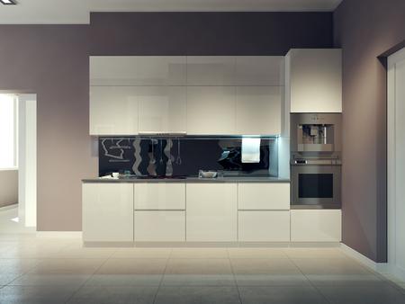 kitchen modern: Modern kitchen design. 3d render