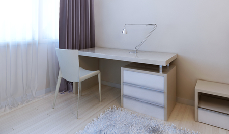 nightstands: Working area modern bedroom. 3d render Stock Photo