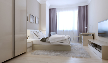 nightstands: Bedroom scandinavian style. 3d render
