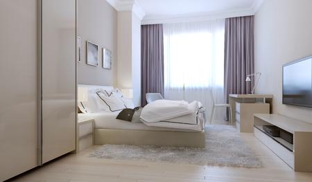 nightstands: Bedroom scandinavian style. 3d render