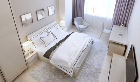 nightstands: Scandinavian bedroom design. 3d render Stock Photo