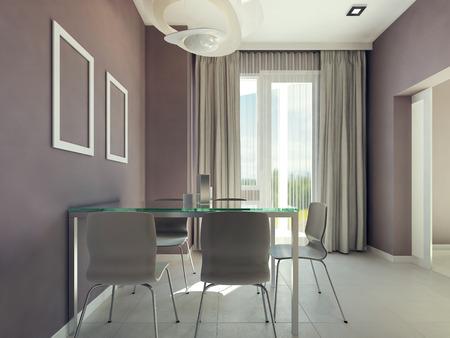 Prostorná jídelna interiér. 3d render