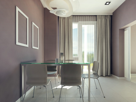 dining table and chairs: Spacious dining room interior. 3d render