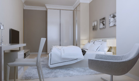 nightstands: Modern bedroom design. 3d render