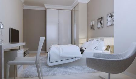 nightstands: Modern bedroom design. 3d render
