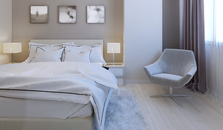 High-tech bedroom design. 3d render