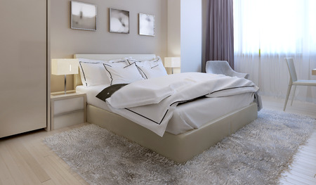comfortable: Bedroom modern style. 3d render