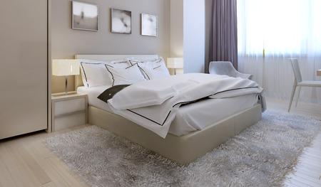 Slaapkamer moderne stijl. 3d render