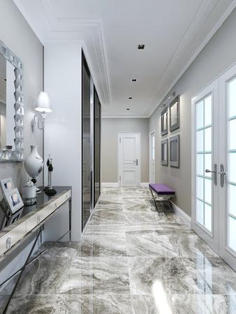 entrance hall: Art deco entrance hall design. 3d render