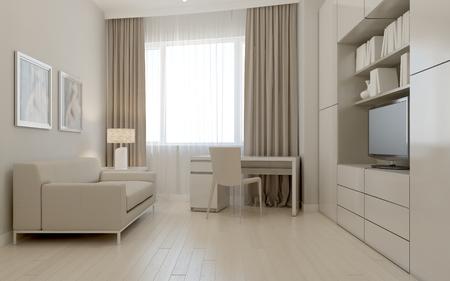 Living room avant-garde style. 3d render