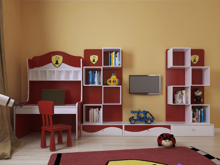 chest of drawers: childrens room in a modern style, 3d images