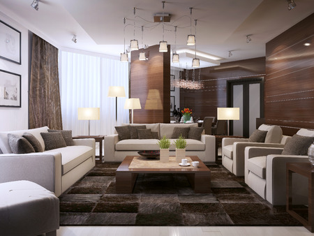 Living room modern interior, 3d images