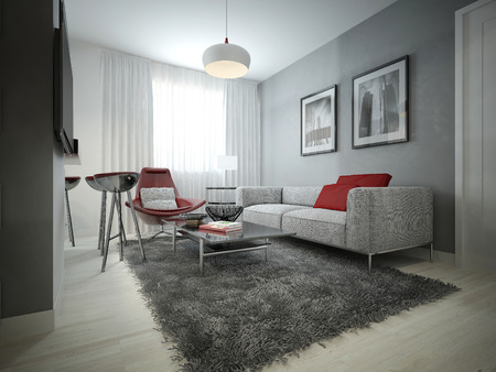 wood flooring: Living room modern style. 3D images Stock Photo