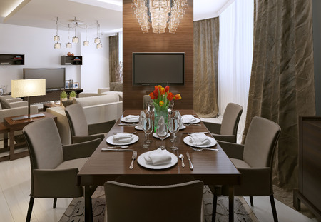 table and chairs: Dining room contemporary style, 3d images Stock Photo