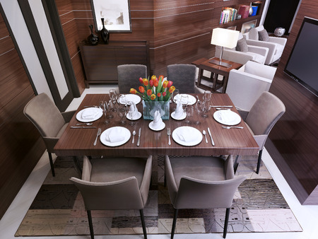 room decor: Dining room in a modern style, 3d images