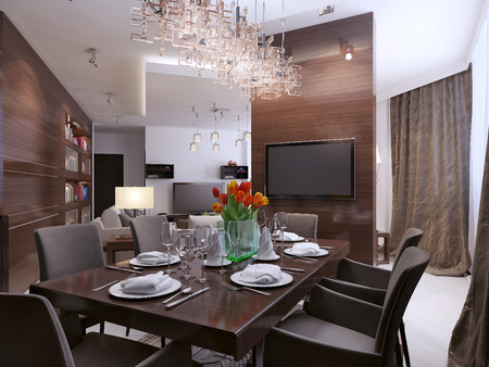 dining table and chairs: Dining room modern interior, 3d images Stock Photo