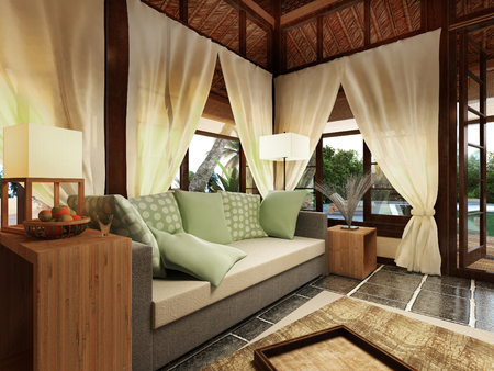 3d bungalow: Romantic Bungalow in Caribbean Island, 3D visualization Stock Photo