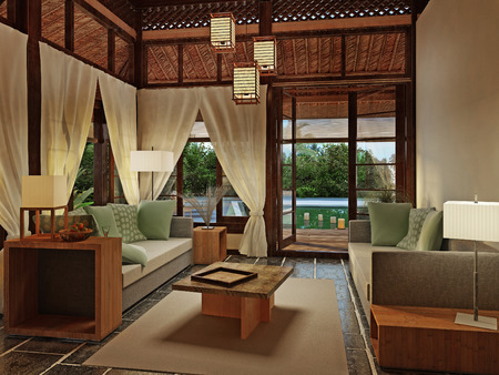 3d bungalow: Romantic bungalow with private pool and superb views, 3D visualization Stock Photo