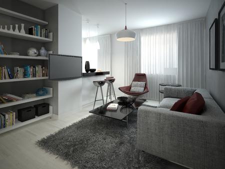 Studio mnimalizm stijl. 3D-beelden