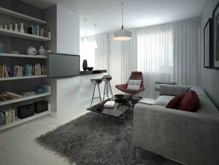 living room design: Studio mnimalizm style. 3D images Stock Photo