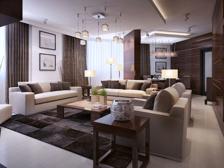 Living room modern interior, 3d images