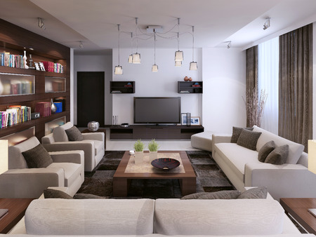 Living room modern style, 3d images