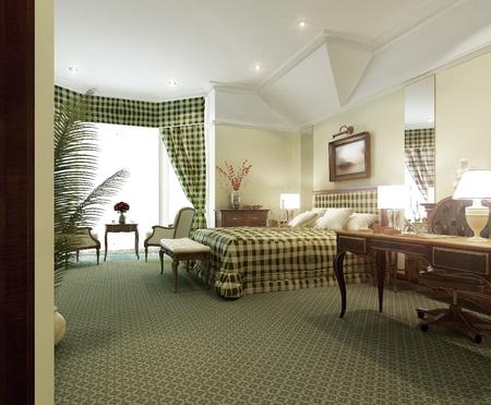 classic interior: Classic Bedroom Interior, 3d render