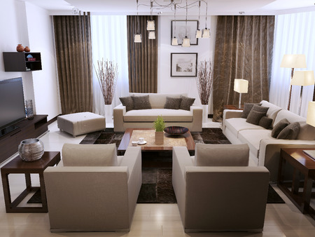 wood panel: Living room contemporary style, 3d images