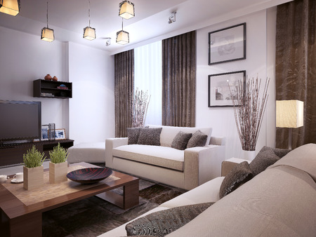room: Living room modern style, 3d images