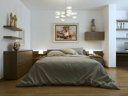 contemporary style: Contemporary style bedroom, 3d images Stock Photo