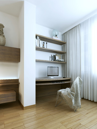 wood flooring: Bedroom modern interior, 3d images