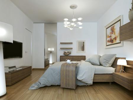 chambre à coucher: Chambre dans le style de la haute technologie, les images 3D Banque d'images