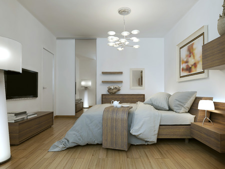 Slaapkamer in de stijl van high-tech, 3D-beelden Stockfoto