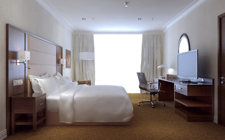 hotel room door: Bedroom modern style, 3d images