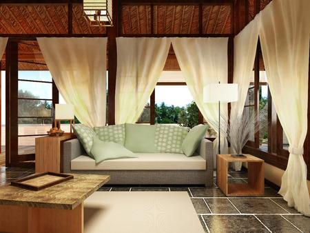 sectional door: Bungalow Interior Design, 3D visualization Stock Photo