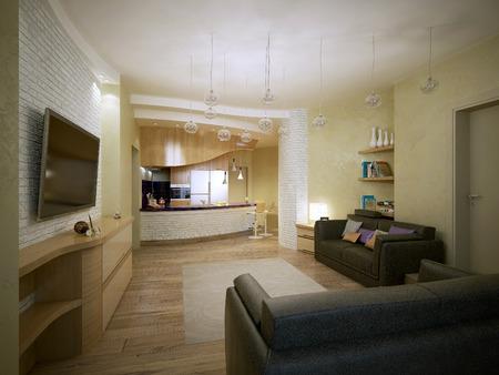 fridge lamp: Studio apartment vanguard style, 3d images