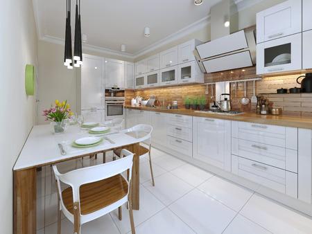 muebles de madera: Contemporáneo Diseño Cocina. 3d