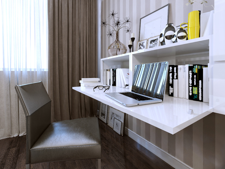 folding chair: Desk contemporary style. 3d render