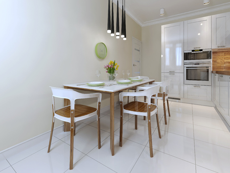 kitchen countertops: dining table and chairs in a modern style. 3d render