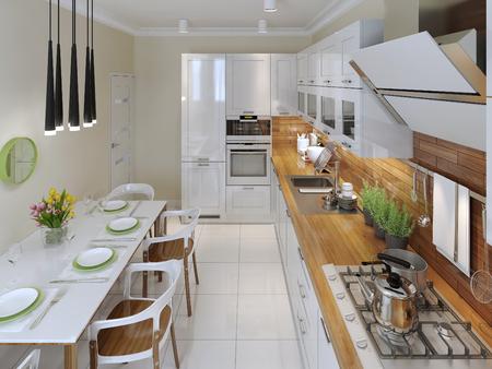 kitchen countertops: Modern kitchen. 3d render