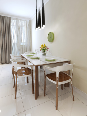 countertops: Contemporary style dining table. 3d render Stock Photo