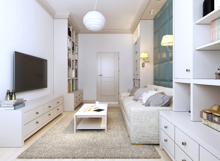 guest room: Contemporary style guest room, 3d images Stock Photo